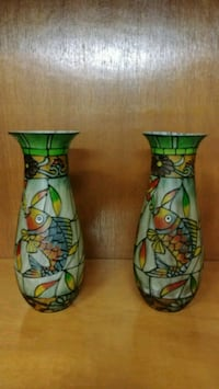 two green-and-brown floral ceramic vases Laval, H7X 3E4