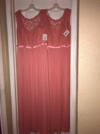 women's red sleeveless dress BOURBONNAIS