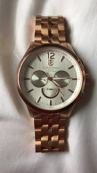 Round gold michael kors chronograph watch with link bracelet Highland Falls, 10928