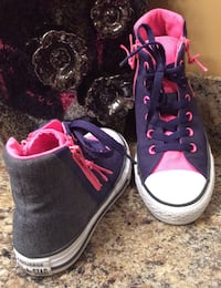All Star Converse girl's gray, pink, & white high top sneakers ( pls slide to see other photo ) Calgary, T2J 1V4