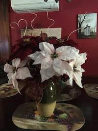 Gorgeous White and red artificial flowers centerpiece