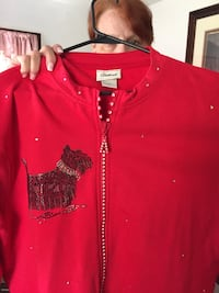 Womens Red Jacket, Scottie Dog Bling (hand crafted). Size large New