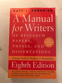 Turabian Manual for Writers 8th Edition.  Never Used!  Great Deal.