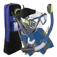 AQUA LUNG DIVING SNORKELING SET MASK FINS SNORKEL ADULTS AND KIDS SIZES Los Angeles