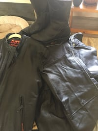 Leather Motorcycle Chaps , leather boots& leather jacket