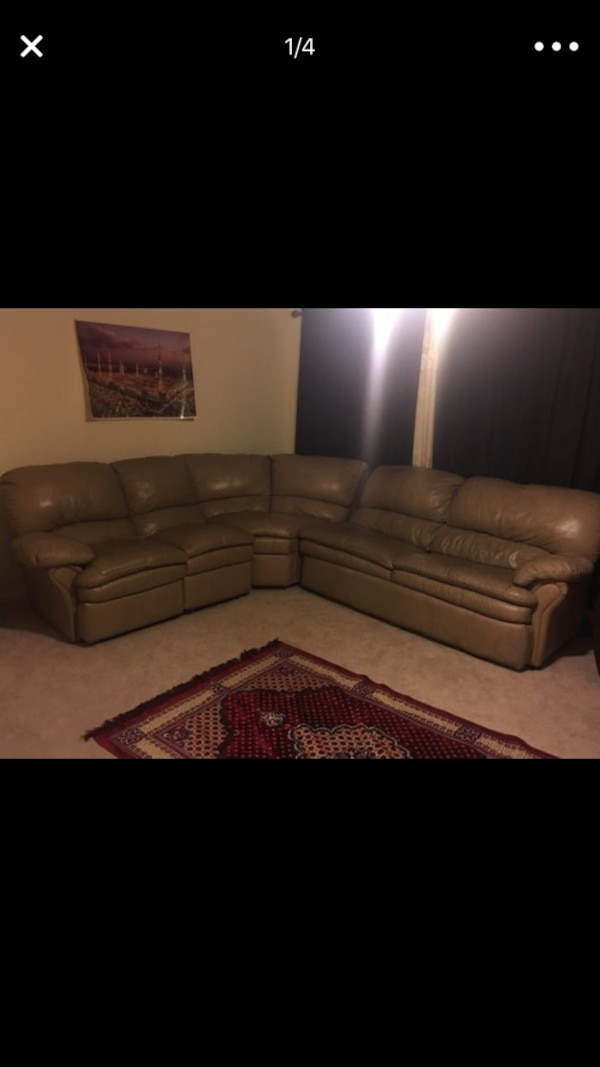 L Shape Sectional Sofa With Recliner And 2 Separate Brown Recliners
