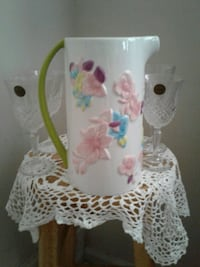 Floral hand painted pitcher