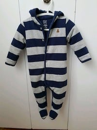white and blue stripe zip-up hoodie Laval, H7N 1X9