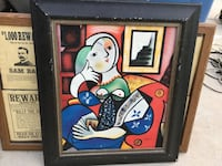 woman abstract painting with frame