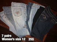 7 pair woman's jeans size 12