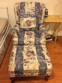 blue-and-multicolored floral sofa chair and ottoman Mississauga