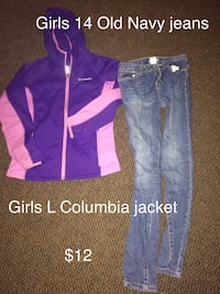 faded blue jeans and pink-and-purple Columbia hoodie jacket