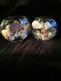 two clear glass fish bowls