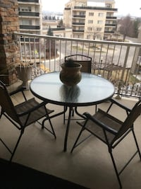 Glass table with 3 chairs patio set Brampton