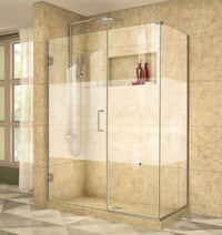 DreamLine SHEN- [PHONE NUMBER HIDDEN]  Unidoor Plus 47-1/2 x 34-3/8 x 72 Inch Hinged Shower Enclosure - Clear Glass/Brushed Nickel Oxford, 19363