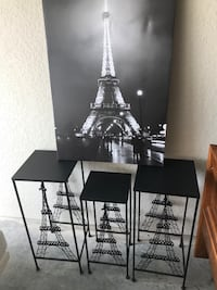 3 Eiffel Tower Metal Tables And Canvas Frame Kissimmee, 34741
