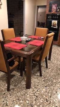 Rectangular brown wooden table with six chairs dining set Moorpark, 93021