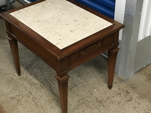 Wood & Marble End Table