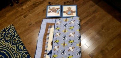 Baby Boy 6 Piece Crib Set( 2  wall Art)