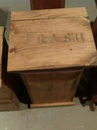 Hand crafted wooden trash can.  Hamptonville, 27020