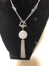Traci Lynn necklace with rhinestone disc and chain tassels  Centreville, 20121