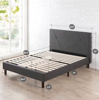 NEW! Zinus geometric upholstered bed frame with headboard