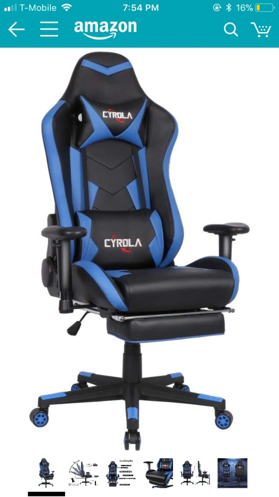 Cyrola Large Size Real PU Leather High Back Comfortable Gaming Chair With  Footrest PC Racing Chair