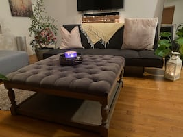 Futon sofa and ottoman