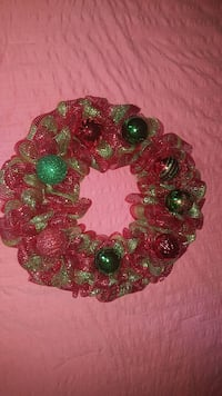 green and red mesh wreath with baubles Lithia Springs, 30122