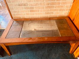 Granite glass wooden coffee table