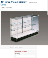 white and gray metal display case.  Centreville, 20120