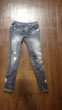 Distressed blue-washed jeggings