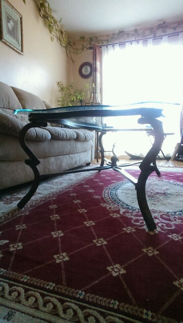 black and white metal frame glass top table