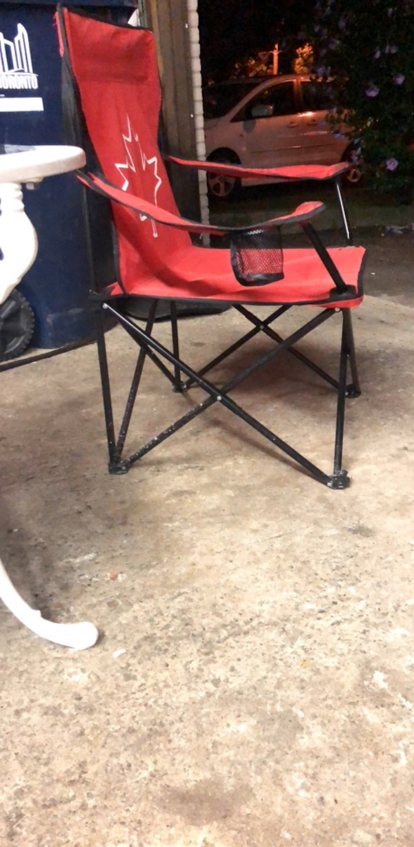 Red and black folding chair