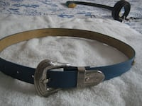 "Ladies Leather Blue Belt, Size; M or 34"" long - studs on side Mississauga"