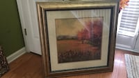 painting of red leafed tree with grass field with gray wooden frame Covington, 30016