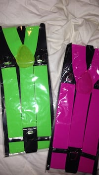 Brand new green and pink suspenders