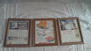50's Retro Ads Jello & Appliances  Framed Pictures $8 Both