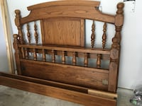 Queen bed frame, solid wood. Headboard, footboard, rails, & hardware.