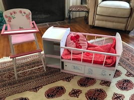 Vintage doll crib and high chair