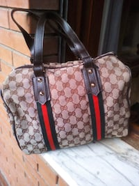 Tote bag in pelle Gucci marrone e rossa Roma, 00172