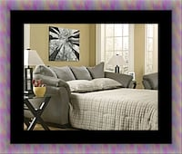 gray fabric sofa with throw pillows Laurel