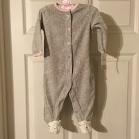 """Carters"" brand new baby onesie footie pajamas. Very soft. Tags still attached. Girl.  Waycross, 31503"