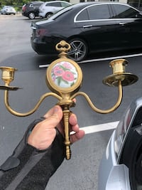 Solid Brass Wall Candle Holders with ornate section.  Boca Raton, 33498