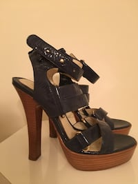 pair of black leather open-toe heeled sandals Guelph, N1E 2L4