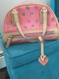 pink and white Dooney & Bourke leather tote bag LONDONDERRY