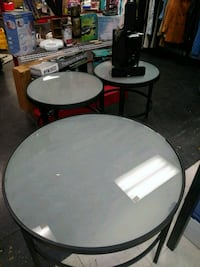 round black wooden framed glass top coffee table Wilmington
