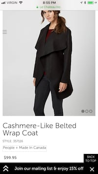 Black Cashmere Belted Wrap Coat/ Size Medium Worth 100$ Montreal, H2P 2B1