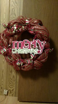 red and gold sheer Merry Christmas wreath Monroe, 28110