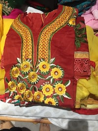 red and yellow floral apparel
